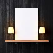 Shelf with white poster and lamps — Stock Photo