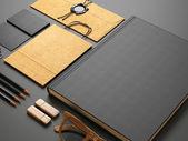 Set of blank elements on black background — Stock Photo