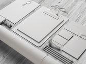 Set of stationery elements on wood background — Stock Photo