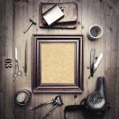 Tools of barber shop with picture frame — Stock Photo
