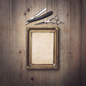 Vintage frame and barber tools — Stock Photo