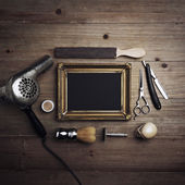 Vintage barber tools and black canvas — Stock Photo