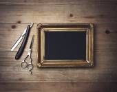 Frame and vintage barber tools — Stock Photo