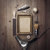 Barber tools and kraft canvas — Stock Photo