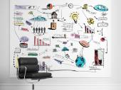 Strategy plan on the white wall — Stock Photo