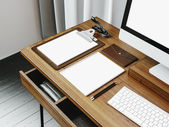 Mock up of generic design computer screen and workspace. 3D rendering — Stockfoto