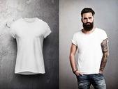 Man and white tshirt on grey background — Stock Photo