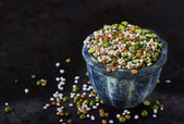 Bowl  with cereales and legumes, closeup — Stock Photo