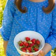 Child with a bowl of strawberries — Stock Photo #76027383