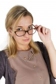 Portrait of a young attractive woman with glasses — Stock Photo