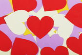 Paper red and purple hearts — Stock Photo