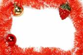Frame of orange Christmas garland with Christmas toys — Стоковое фото