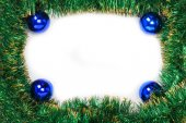 Frame of green Christmas garland with blue balls — Stockfoto