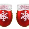 Two bright Christmas tree toys red mitten — Stock Photo #59848639