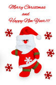 Card with Santa Claus, red snowflakes and text — Photo