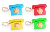 Set of bright colored phones — Stock Photo