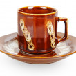 Brown ceramic cup and saucer — Stock Photo #69131063