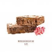 Watercolor chocolate cake — Stock Vector