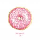 Watercolor donuts pink — Stock Vector
