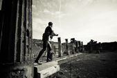 Old photo of Apollo Temple ruins, Pompeii — Stock Photo