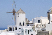 Santorini Oia , windmill — Stockfoto