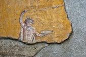 Fresco broken, painted in Pompeii  — Stock Photo