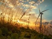 Wind Turbine in sunset — Stock Photo