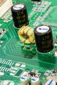 Macro of black capacitors from circuit board — Stock Photo