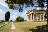 Archaeological  site of Paestum , Temple of Hera . Italy — Stock Photo