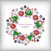 Beautiful greeting card with floral wreath — Wektor stockowy