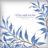 Watercolor illustration with blue leaves. — Stock Vector