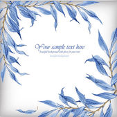 Watercolor illustration with blue leaves. — Stockvector