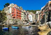 Riomaggiore village on cliff rocks and sea — Stockfoto