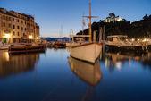 Night in the harbor of Portofino, Italy — Stock Photo