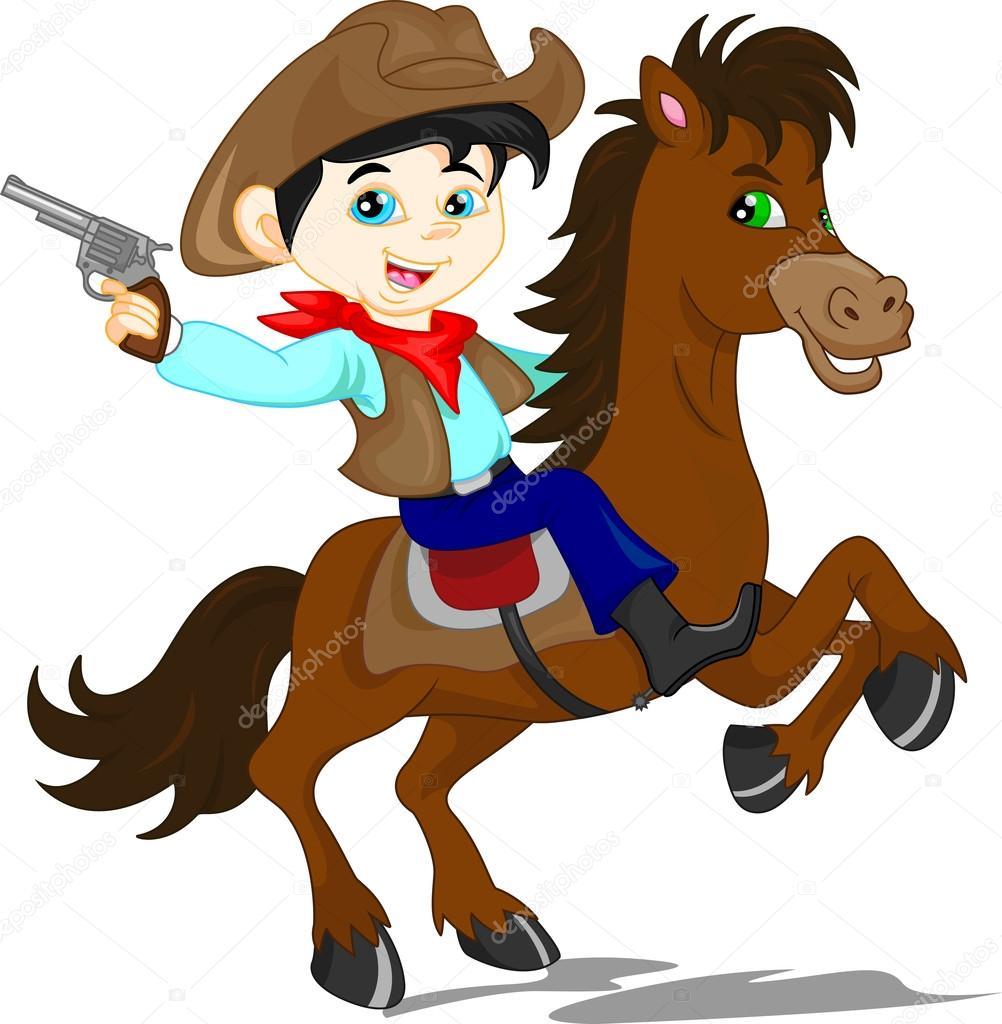 dibujos animados de chico lindo vaquero vector de stock Little Cowgirl Silhouette Clip Art Little Cowgirl Cartoon Clip Art