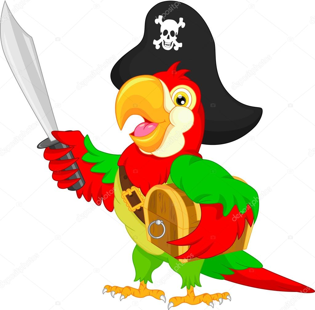 caricature de perroquet pirate illustration