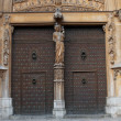 Gate with figures of saints on the Catholic Cathedral, Tarragona — Stock Photo #51854675