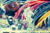 Polvo pc cables closeup — Foto de Stock
