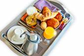 Continental breakfast on a tray — Stock Photo