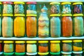 Assorted ground spices in jars — Stock Photo