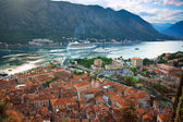 View of Kotor old town from Lovcen Mountain, Montenegro. — Stock Photo