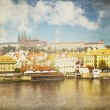 Vintage card of Prague landscape and the Vltava river — Stock Photo #58214861