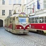 PRAGUE, CZECH REPUBLIC - NOVEMBER 03, 2014: Retro trams Tatra T3 — Stock Photo #58214909