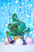 Christmas ornament with fir tree — Stockfoto