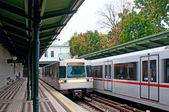 VIENNA, AUSTRIA - OCTOBER 11, 2014: Arriving trains at metro sta — Stock Photo