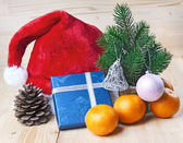 Christmas card on wooden background — Стоковое фото