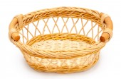 Wicker basket closeup on white background — Foto Stock