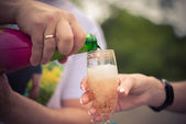 A glass of sparkling wine — Stock Photo