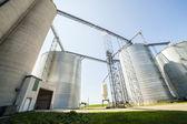 Silver, shiny agricultural silos — Stock Photo