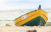 Wooden boat on The Baltic shore — ストック写真